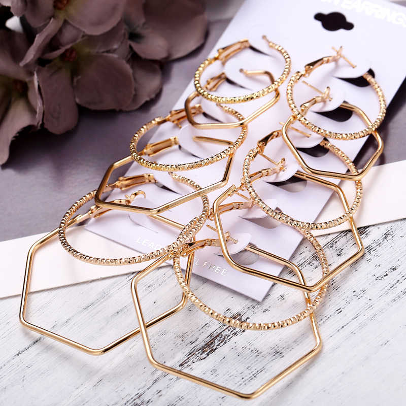 IF YOU Fashion Geometric Big Round Earrings Set For Women Vintage Oversize Mix Gold Silver Color Brincos New Earring Jewelry