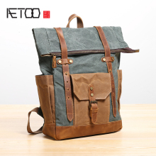 AETOO Shoulder bag male canvas backpack Large capacity waterproof outdoor travel Bag literary Retro College schoolbag
