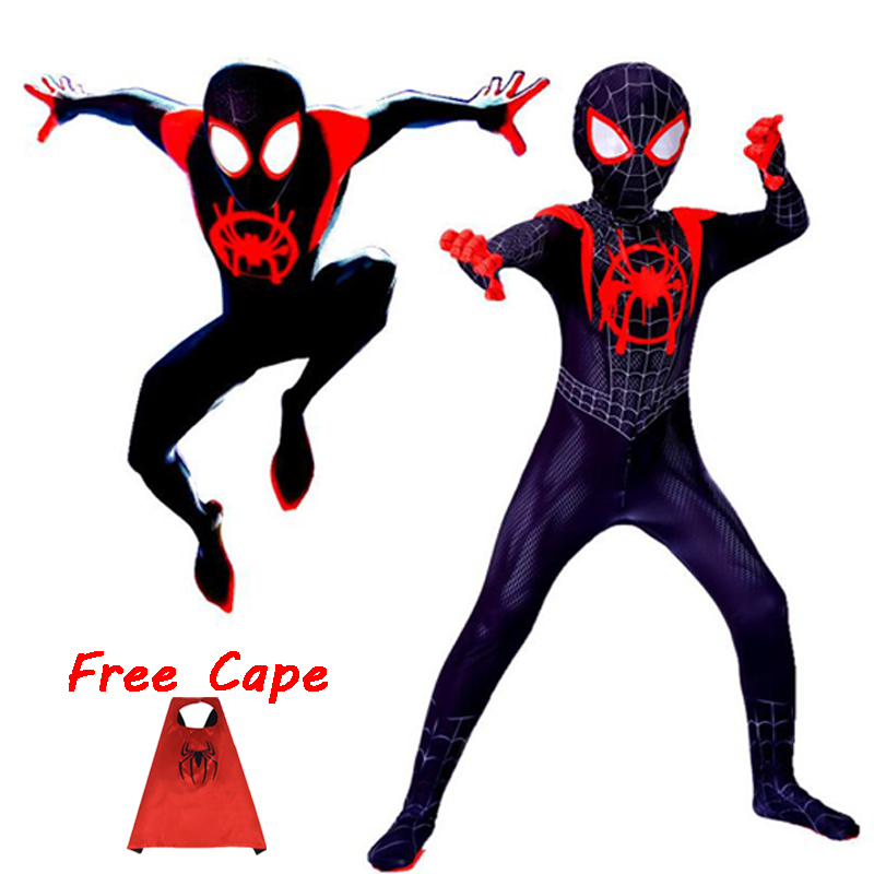 2018 Miles Morales Spiderman 3D Print Costume Adult Kids Boys Spider Man Cosplay Costume Superhero Zentai Spiderman Suit