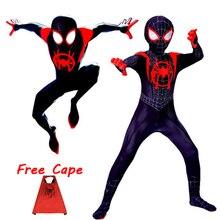 цены на 2018 Miles Morales Spiderman 3D Print Costume Adult Kids Boys Spider Man Cosplay Costume Superhero Zentai Spiderman Suit  в интернет-магазинах