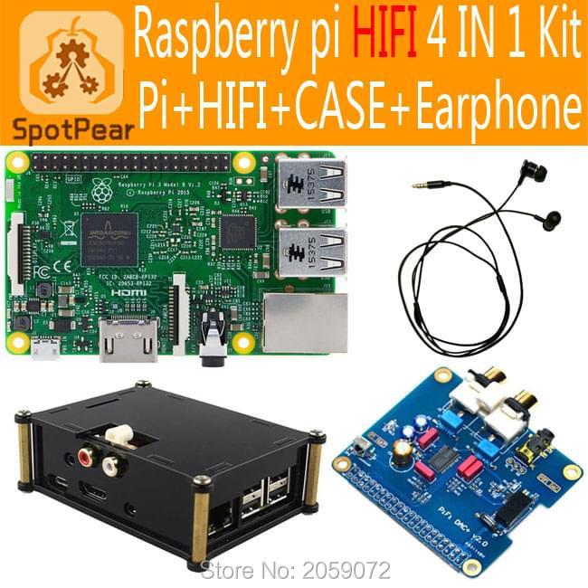 Prix pour Raspberry pi Pi 3 modèle B HIFI DAC + Audio Carte Son Module I2S interface, Pour Pi3/Pi2 4 en 1 Kit