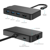 dodocool 6 in 1 usb c hub type c 4K video HD 1000Mbps rj45 gigabit ethernet adapter usb 3.0 2.0 hub for Laptops TV MacBook Pro