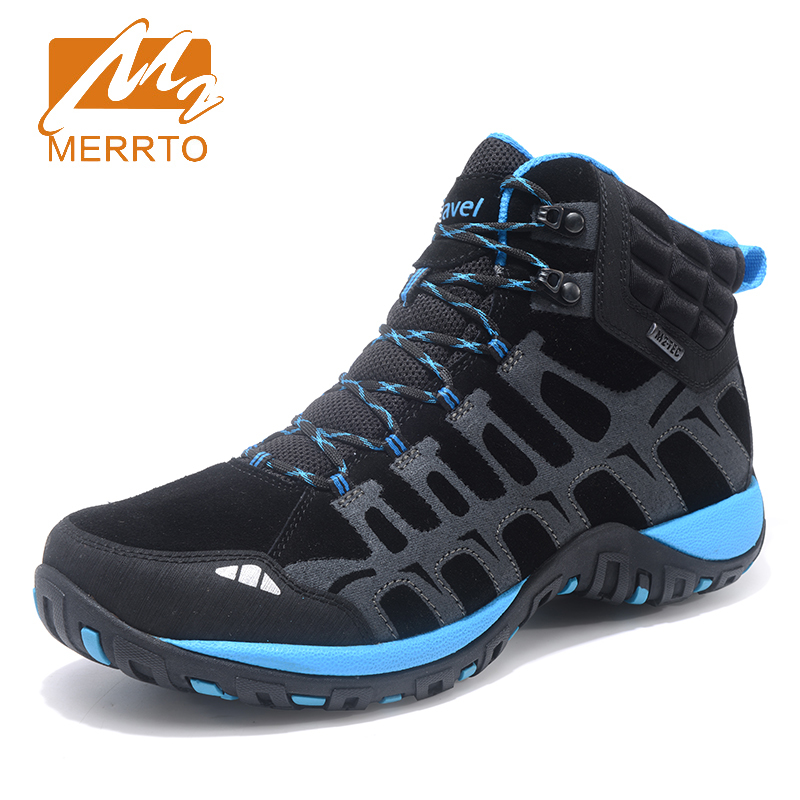 MERRTO 2017 Trekking Shoes for Men Hiking Shoes Quality Leather Mountain Outdoor Shoes Breathable Climbing Shoes MT18690 humtto new hiking shoes men outdoor mountain climbing trekking shoes fur strong grip rubber sole male sneakers plus size