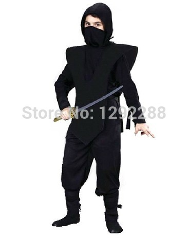 Free shipping,Halloween party cosplay clothes black children adult Ninja Costumes for kids performance wear
