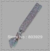 Elastic Silver Glitter Ribbon Hair Ties     5/8