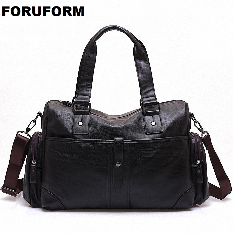 PU Leather Handbags Men Large-Capacity Portable Shoulder Bags Mens Fashion Travel Bags Package Travel Duffle LI-1693