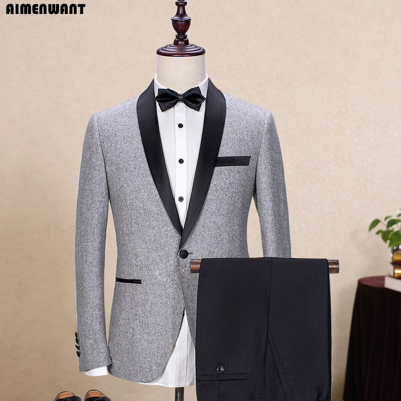 AIMENWANT Tailor Made Groom Shawl Collar Suit Pants Man Gray Groomsman Blazer Business Pastor Suit 2Pieces