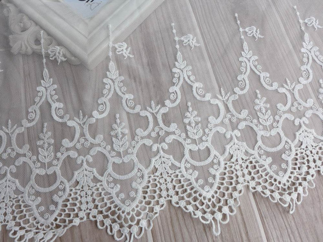 Vintage Embroidery Lace, White Tulle Lace Fabric Trim, Cotton Lace Trim,  Bridal dresses