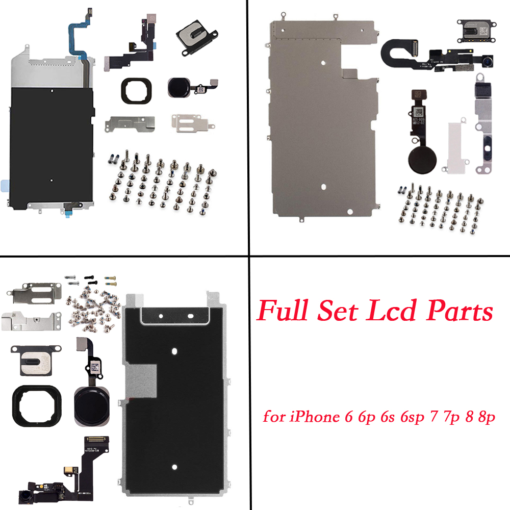 for iPhone 6 6P 6S 6SP 7 7P 8 8 Plus lcd parts Screen Metal Bracket Front Camera Flex Cable Home Button key with full screws image