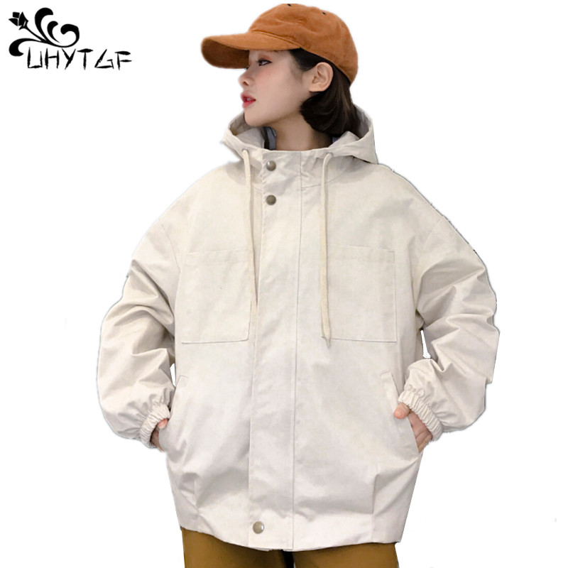 UHYTGF Women   Basic     Jackets   Spring Autumn College style   Jacket   Female Casual Coats Plus size Loose Hooded coats tops Fashion X266