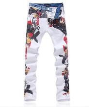 Новый 2015 Модные мужские джинсы прямые джинсовые брюки/человек печатных Джинсы Для Мужчин джинсы Большой Размер 28-38