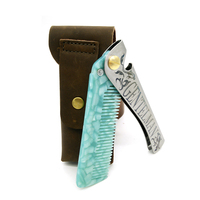 M 26 Customized Green Teeth Silvery Metal Handle With Leather Bag Stainless Steel Acetate Folding Comb