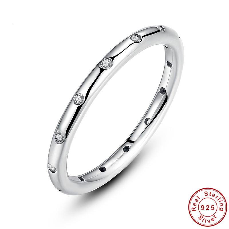 Valentines Day Deals 925 Sterling Silver Droplets Stackable Finger Classic Ring for Women Wedding Fine Jewelry PA7132