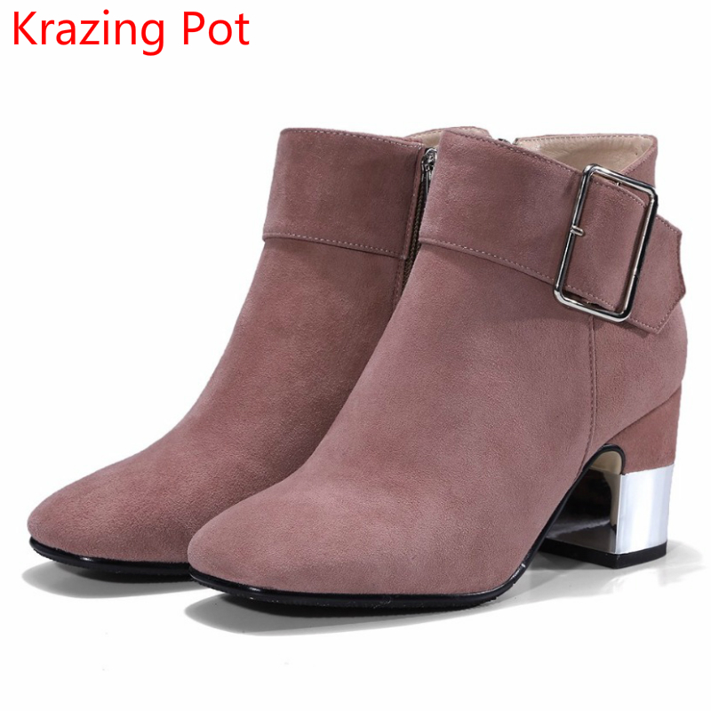 2018 Fashion Genuine Leather Winter Boots Square Toe Buckle Metal High Heels European Round Toe Keep Warm Women Ankle Boots L91 european style autumn genuine leather fashion ankle boots round toe zipper belt buckle high heels motorcycle boots women boots