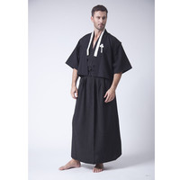 2017 New Fashion Black Vintage Japanese Men's Warrior Kimono Haori Yukata One Size Free Shipping B0002#