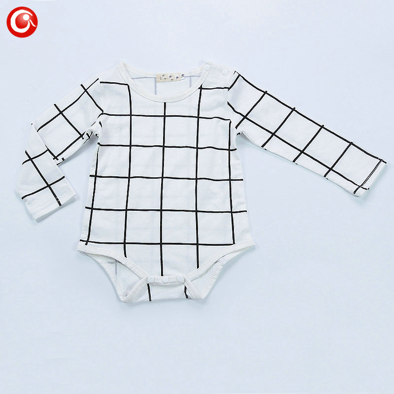 Baby Boys Girls Rompers Plaid White Cotton Full Sleeve Jumpsuits Clothes Newborn Infantil Onesie Clothes Kids Costume Clothing baby boys rompers infant jumpsuits mickey baby clothes summer short sleeve cotton kids overalls newborn baby girls clothing