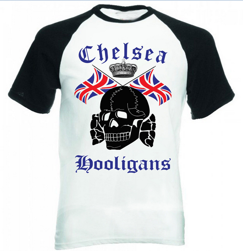 Chelsea hooligans cool skulls flag men black sleeved Designer baseball shirts