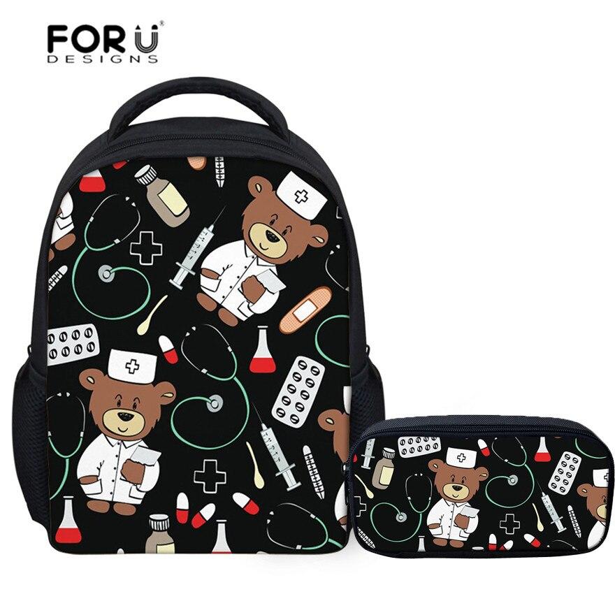 FORUDESIGNS Children's School Bags Cute Nurse Bear Printing Kids Backpacks Infant Kindergarten Students Book Satchel Schoolbag