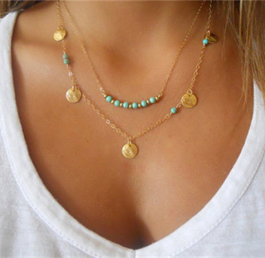 Multilayer Coin Tassels Lariat Bar Gold  Necklace