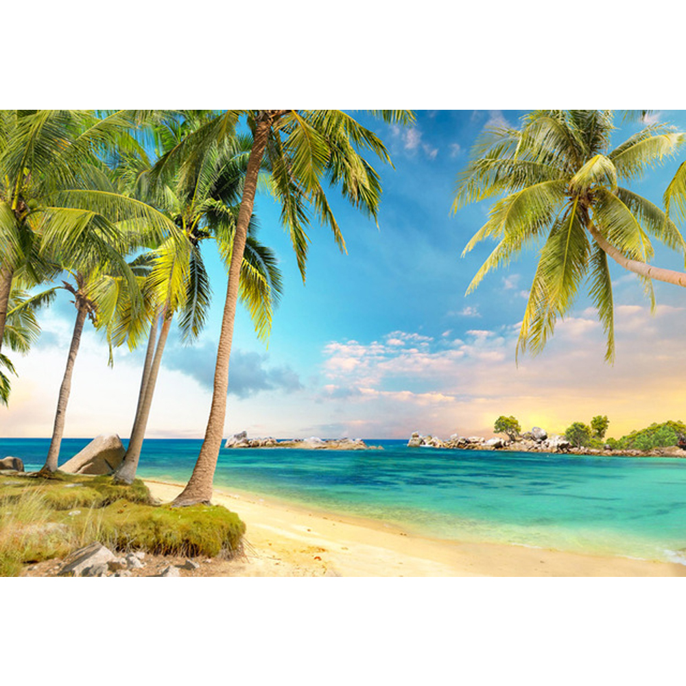Exotic Beach: Blue Sky And Sea Tropical Beach Scenic Backdrop Printed