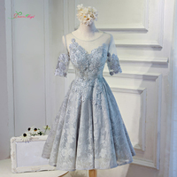 Dream Angel Elegant Short Sleeve Tea Length Homecoming Dresses 2017 Luxury Appliques Lace Short Special Occasion