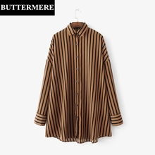 BUTTERMERE Chiffon Blouses Shirts Women Long Sleeve Black Brown Striped Shirt Elegant Casual Loose Cardigan Oversize Top Blusas