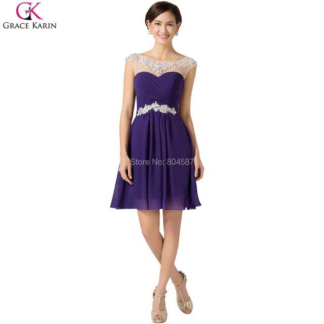 924fc30a2 Túnica azul púrpura fucsia gracia Karin corto satén sin mangas boda vestido  de fiesta Formal Prom