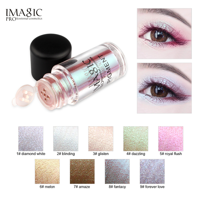 IMAGIC New Arrival Glitter Eyeshadow Metallic Loose Powder Waterproof Shimmer Pigments Colors Eye Shadow Makeup Cosmetics