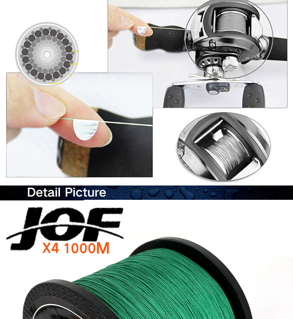 1000M Multifilament Fishing Line 100% PE Braided 4 threads fly fishing line for carping fishing  30 40 50 60 80 100lb 12