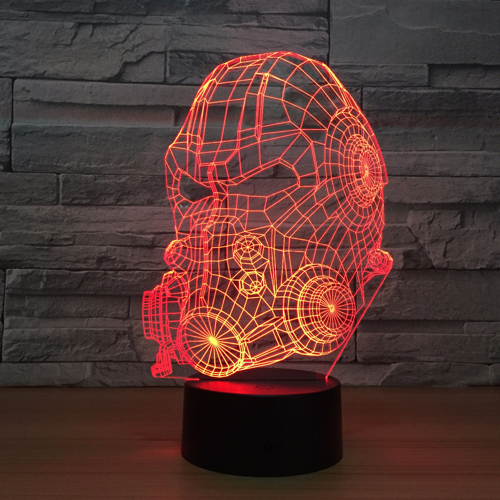 Gas Mask Model 3D LED Lamp 7 Colors Changing USB Touch Sensor Desk Table Lamp USB Night Light Atmosphere Lamp Firefighting Gift lumiwell remote control air plane 3d light led table lamp night light 7 colors changing mood lamp 3 aa battery powered usb lamp