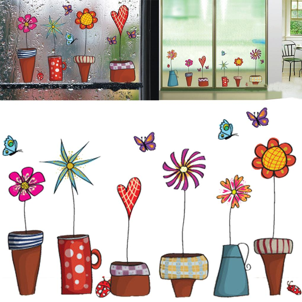 Leuke Cartoon Bloem Vlinder muurstickers DIY Decal vensterglas muur decor Woondecoratie kids kinderkamer decor