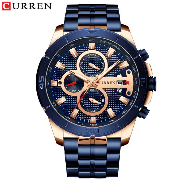 CURREN Men's Luxury Brand Business Steel Casual Waterproof Male Chronograph Auto Date Quartz Watches 1