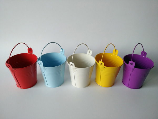 Colored Metal Cup planters Wedding buckets Mini Pail for Baby Shower birthday party D5.5XH5.5CM decorations kids-in Flower Pots & Planters from Home & Garden