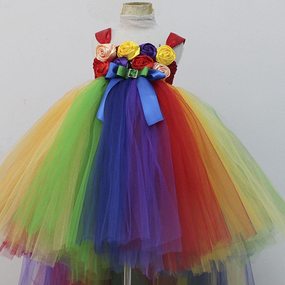 Colorful Girl Flower Tutu Dress Rainbow Fluffy Kids Girls Ankle Length Birthday Party Tutu Dresses With Train For Photos 1-8 Y rainbow flower girl tutu dress for