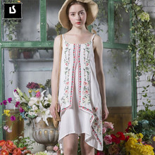 HOT Fashion Dress summer Women Cotton and linen embroidery dress female Casual Beach Dress Sundress sexy Sling dress vestido(China)