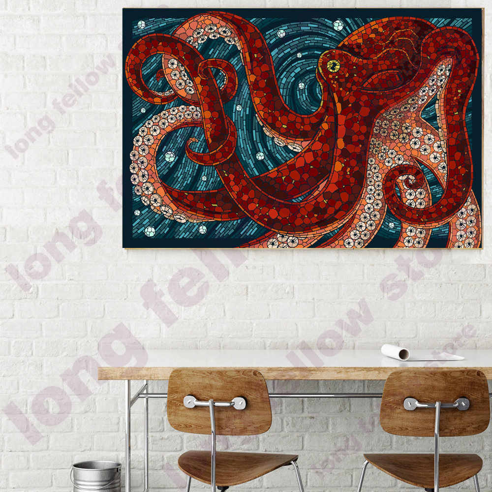 DIY Number Painting Cartoon Animals Coloring by Numbers Abstract Artwork Octopus Poster Wall Art Picture for Bedroom Wall Decor
