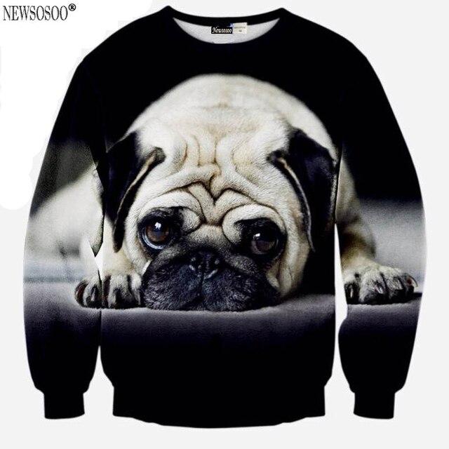 Newsosoo new Special design sweatshirt men big Pug dog 3D printed  hoodies men and women can wear Harajuku Sweatshirt XS6