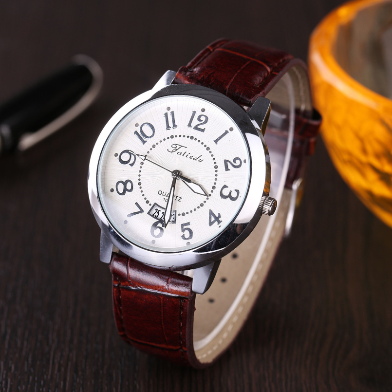 Excellent Quality Fashion Mens Watches Luxury Leather Business Quartz Watch Men Waterproof Wristwatch Relogios Masculino
