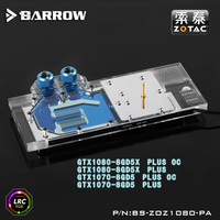 Barrow RGB Full Cover Graphics Card Water Cooling Block BS ZOZ1080 PA For ZOTAC PLUS 1080