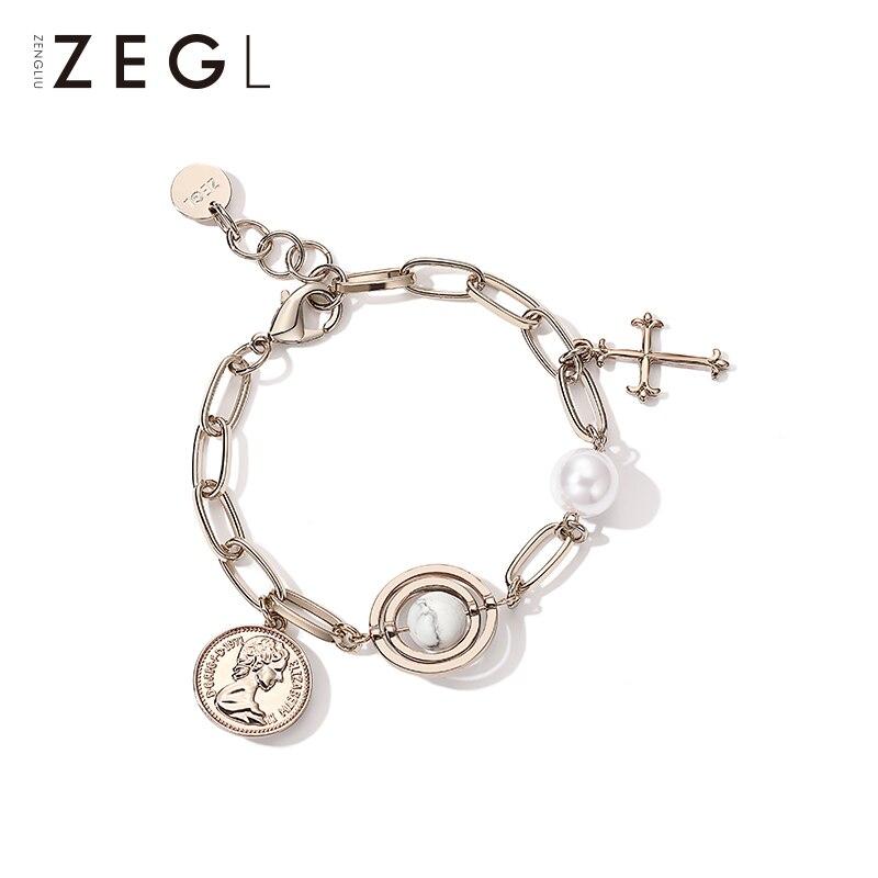 ZEGL bracelet hip hop simple bohème bracelet breloque dames bracelet main chaîne