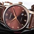 Мужские наручные часы с коричневым циферблатом и сапфировым стеклом miyota 8215  38 мм  новинка 2019