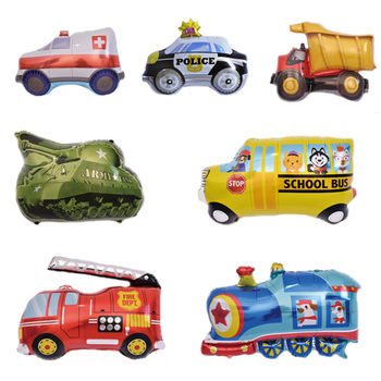 1PC Cartoon Car Shape Foil Balloon Fire Truck Train Ambulance Bus Balloons Children Gifts Birthday Party Decorations Kids Toys image