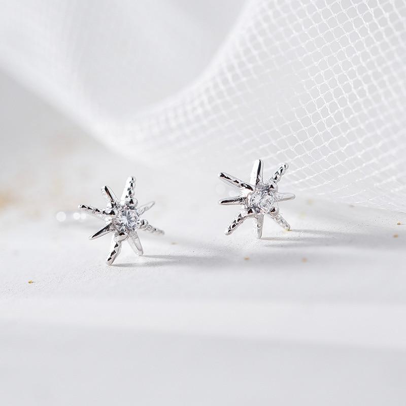 Hot Sale Silver Dazzling CZ Star Secret Small Stud Earrings 925 Hexagon Earrings For Women Fashion Earrings Jewelry in Stud Earrings from Jewelry Accessories
