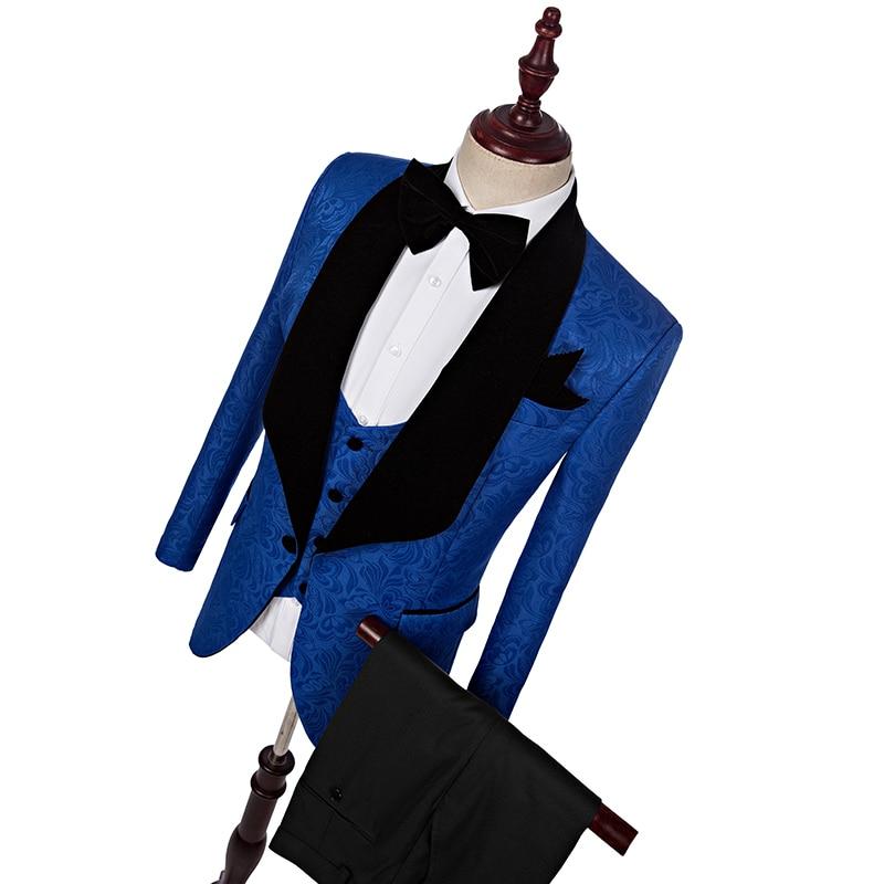 jas + broek + vest) 2018 Mode heren pak Blauw lente herfst pakken - Bruiloft feestjurken