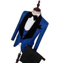 jaket + seluar + jaket) 2018 Lelaki fesyen sesuai musim gugur musim luruh biru sesuai kasual langsing patut prom parti lelaki perkahwinan saman Groom suit