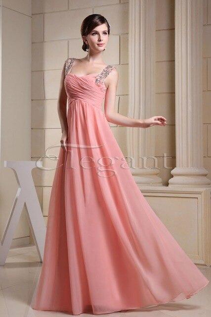Women Beading Straps Ruched Empire Column Full Length Maxi Chiffon  Bridesmaid Dress 3026 d7027269719a