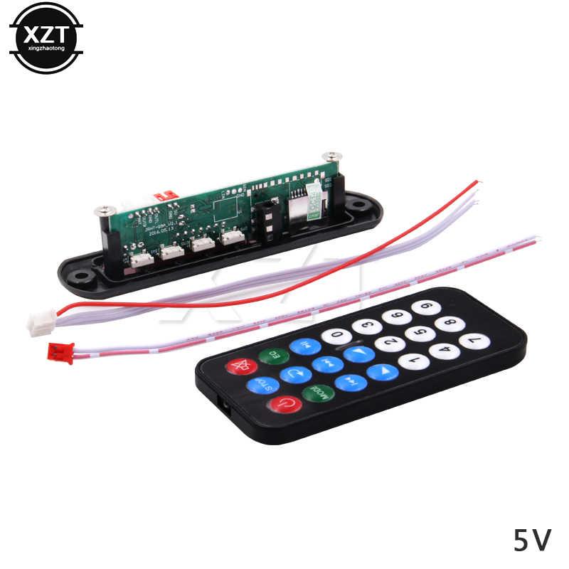 Venda quente dc 5 v 12 v micro usb fonte de alimentação tf rádio mp3 decodificador placa de áudio para o carro remoto música alto-falante