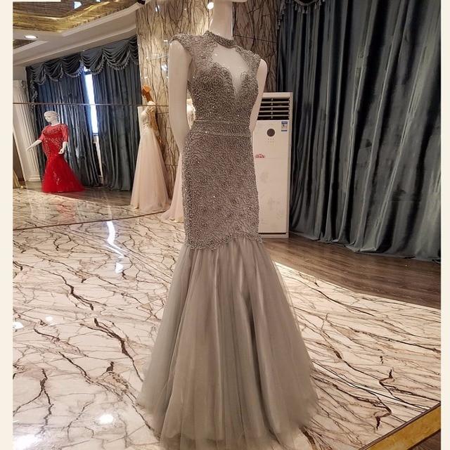 Dubai luxus alle wulstige lange meerjungfrau prom dress 2017 grau ...