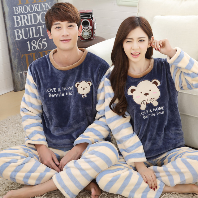 6ff4fe09ea1 Free shipping cute bear flannel pajamas couple pajamas set long sleeve  sleepwear super soft coral fleece pajamas
