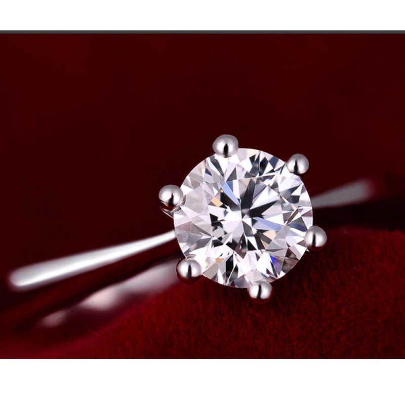 100% 925 srebro kobieta CZ kryształowe obrączki ślubne Super Shinning cyrkonia Fine Jewelry